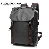 YUES KANGAROO Brand Men Leather Backpacks Mochilas Vintage High Quality Laptop Travel Rucksacks Bolsas Male College
