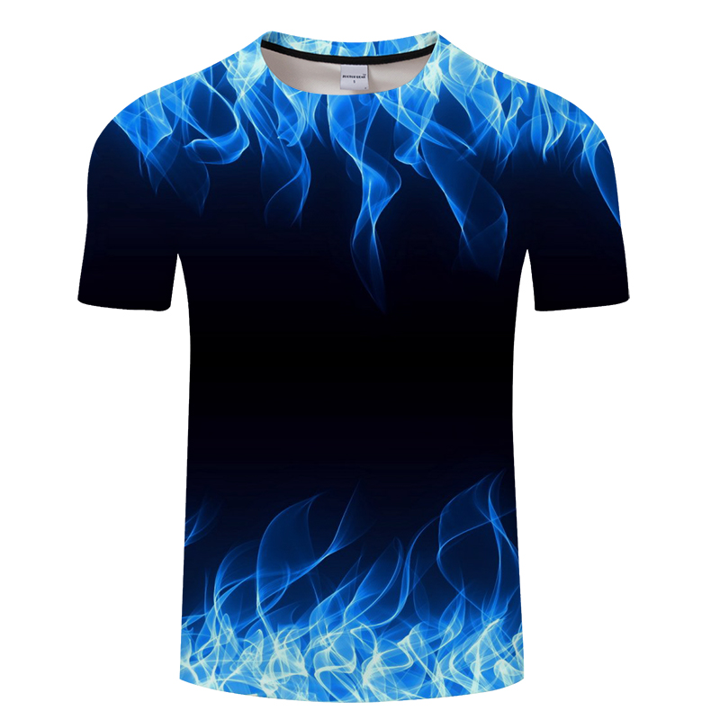 Blue Flaming Tshirt Men Women T Shirt 3d T-shirt Black Tee Casual Top Anime Camiseta Streatwear Short Sleeve Tshirt Asian Size(China)