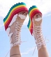 Новые Радуга конфеты Цвета на толстой платформе Носки Ботинки чистая, поливинилхлоридная, прозрачная шнуровке облако звезды Высота обувь с