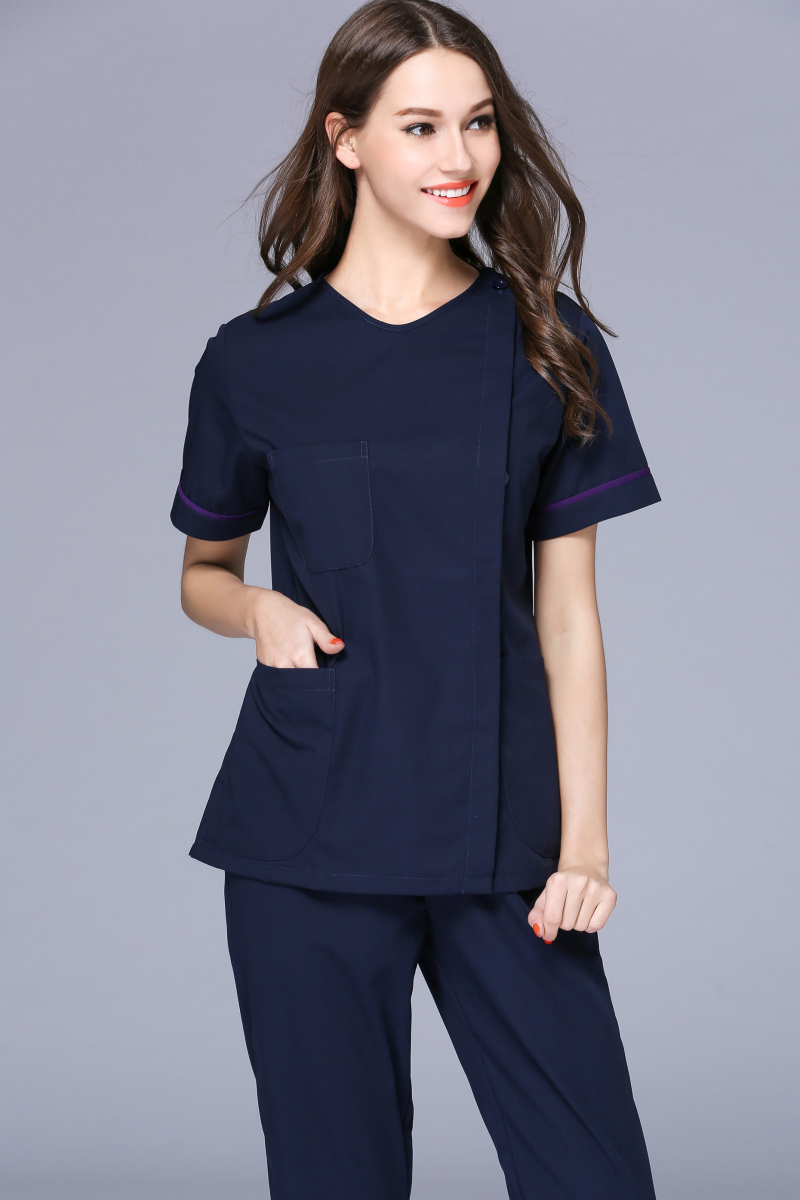 2017 New Women's Small V Neck Short Sleeve Side Opening Nurse Uniform Dental Clinic Nursing Working Wear Free Ship
