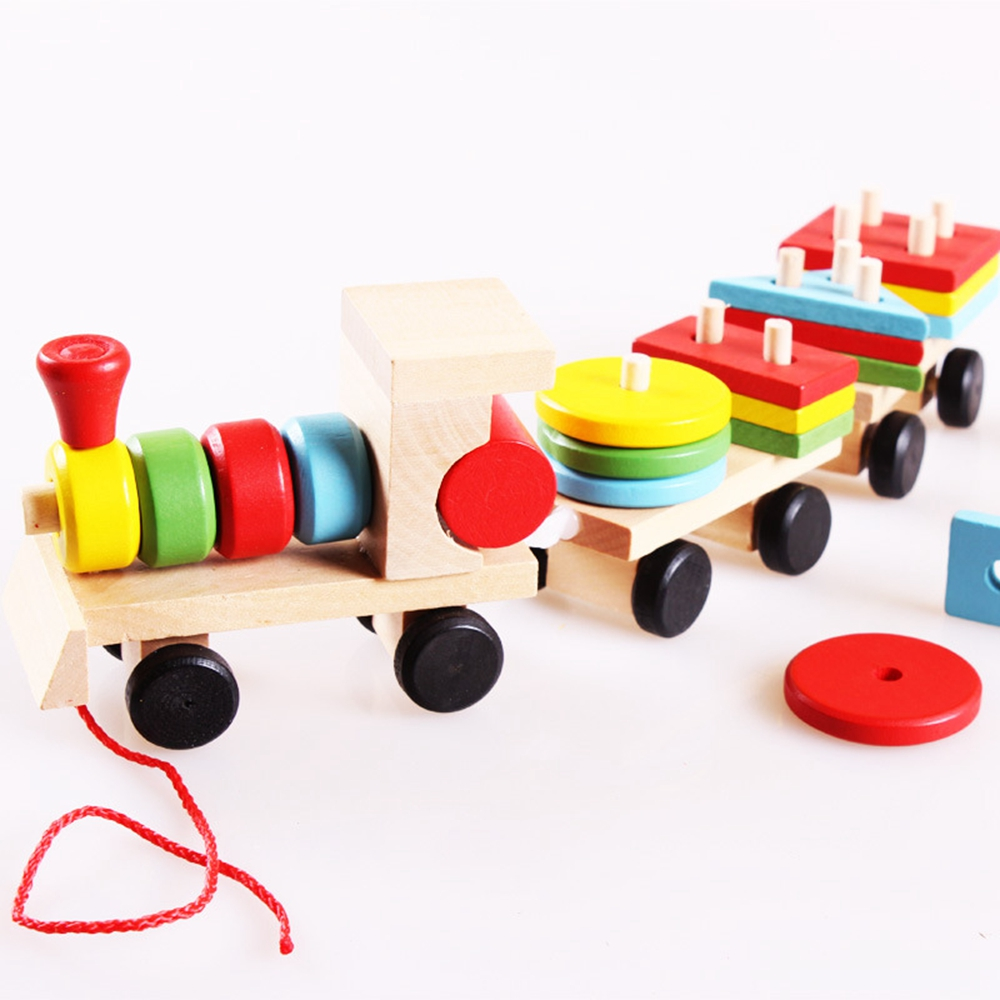 Toddler Baby Wooden Stacking Train Block Toy Fun Vehicle Block Board Game Toy Wooden Educational Toy For Children Gift