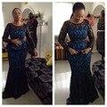 Black Lace Mangas Compridas Vestidos de Noite Mãe dos Vestidos de Noiva Custom made Estilo Nigeriano Africano Lace Formais Vestidos de Baile