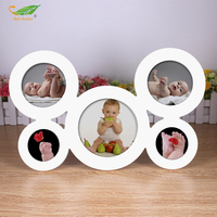 5Connect Baby Photo Frame Circular Wood Pictures Frames Combined Set Table Hang Wall Collage Children S