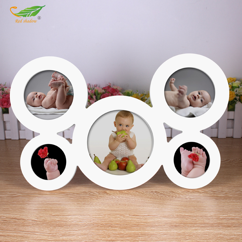 5Connect Baby Photo Frame Circular Wood Pictures Frames Combined ...