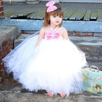 Vintage Rhinestone Rosette Girls Fancy Tutu Gown Girls Tutu Dress Children Princess Wedding Birthday Party Costume