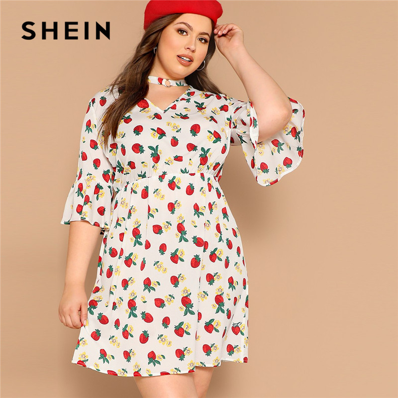 SHEIN Boho Плюс размер одежда с оборочками длина половина рукав v-образный вырез милое женское платье летнее ТРАПЕЦИЕВИДНОЕ расклешенное платье...