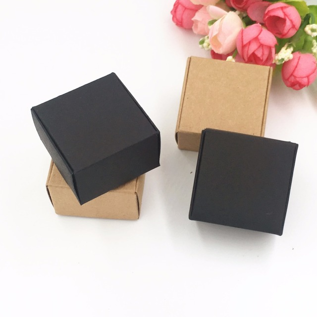 Us 25 33 15 Off 200pcs Lot 4x4x2 5cm Brown Kraft Craft Paper Jewelry Packing Boxes Small Gift Box For Handmade Soap Wedding Party Candy Gift Box In