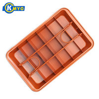KMYC Brownie Pan with Handles Non stick Fondant Chocolate Brownie Snack Cake Mold Baking Pans with Dividers Ice Tray Tool