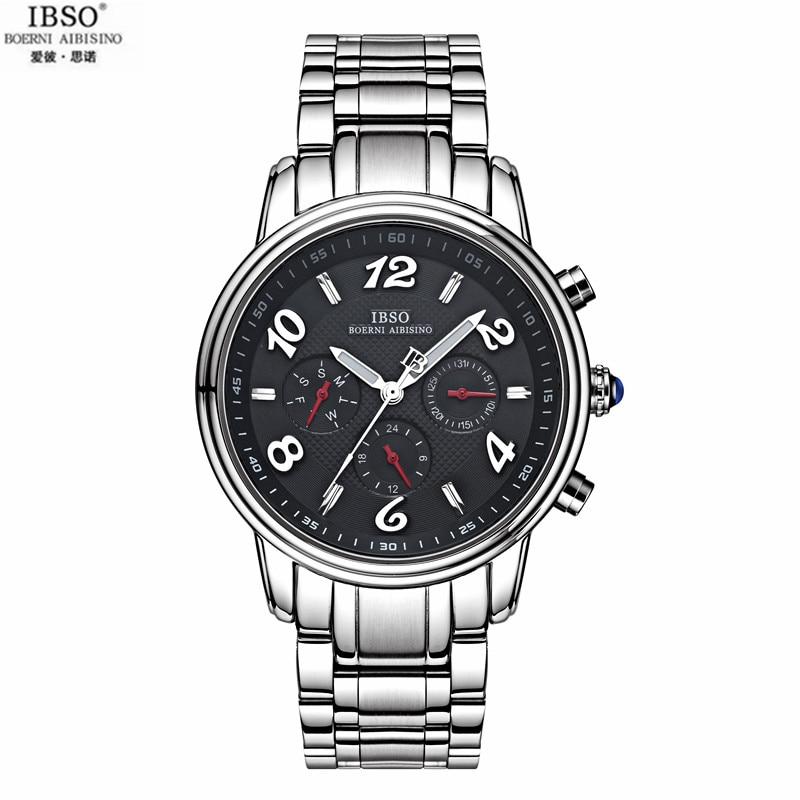 IBSO Men Steel Belt Calendar Watch Military Watches Waterproof Movement Wrist Watch Six Stitches Quartz Watch For Man Fashion