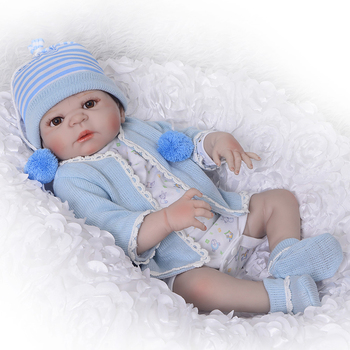 "Full silicone reborn boy baby dolls lifelike 23""57cm real baby reborn doll for girls child gift Bebes reborn menino boneca"
