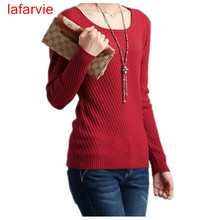 Lafarvie 2017 Cashmere Sweater Women Sweaters and Pullovers Women Fashion o Neck Solid Color Long sleeve XXL Knitted Sweater
