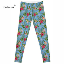 2016 Women F LEGGINGS - LIMITED Leggigs Digital Print Fashion Finessw Pant Punk new model Green leaves and fresh flowers