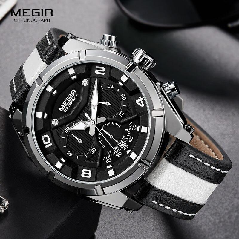 MEGIR Mode herren Chronograph Quarz Uhren Leder Armband Leucht Hände 24-stunde Sport Analog Armbanduhr für Mann 2076 weiß