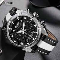 MEGIR แฟชั่นผู้ชาย Chronograph นาฬิกาควอตซ์สายหนังส่องสว่าง 24 ชั่วโมงกีฬาแบบอะนาล็อกนาฬิกาข้อมือสำหรับ Man 2076 สีขาว