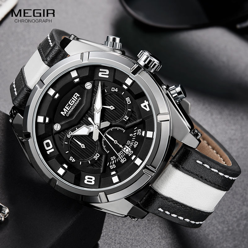 MEGIR Fashion Men's Chronograph Quartz Watches Leather Strap Luminous Hands 24-hour Sports Analogue Wristwatch For Man 2076White