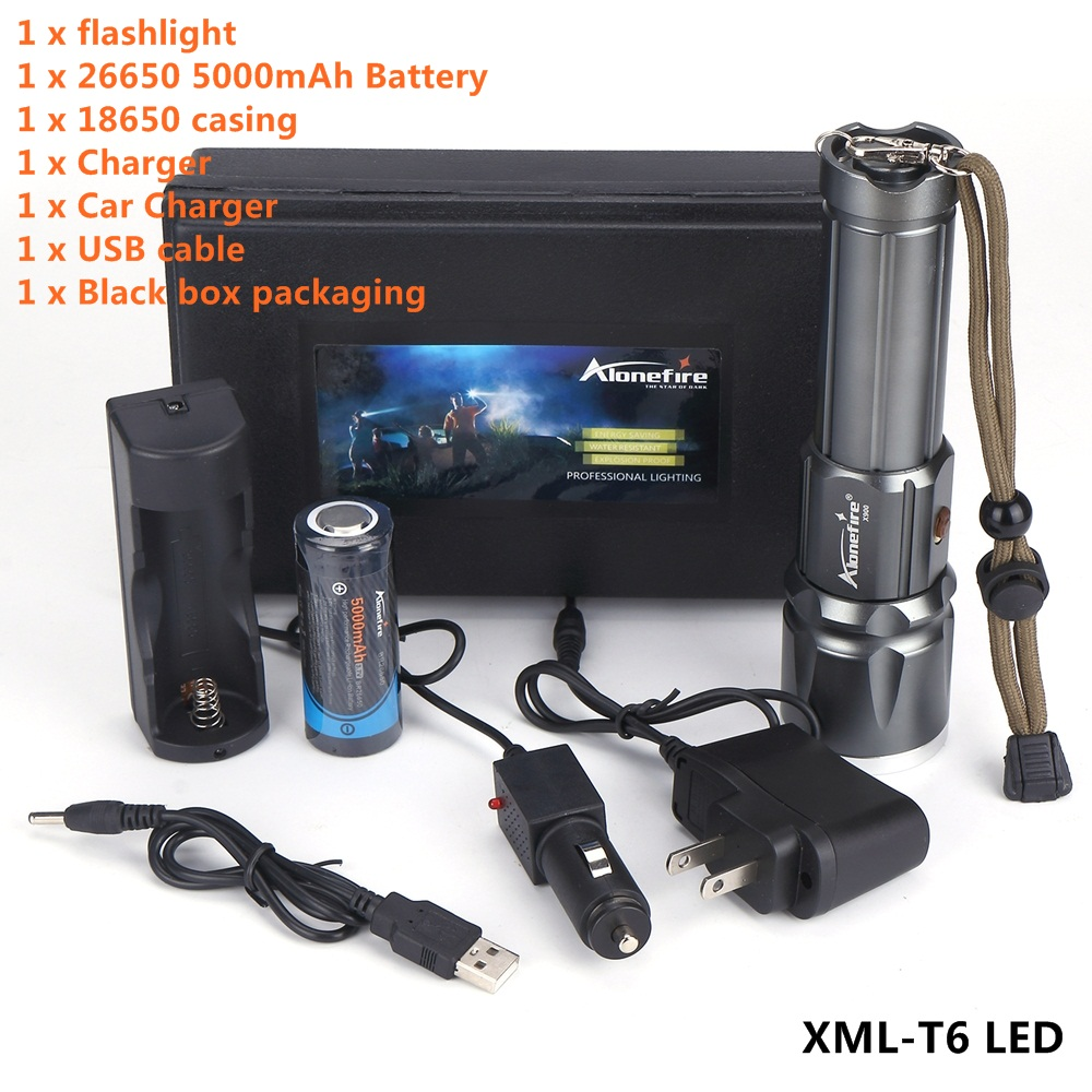 AloneFire X900 CREE XML T6 LED Zoom torcia Torce Torcia Zoomable lanterna led torcia Con 26650 Batteria carica USB