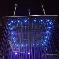Большой SPA душ светодиодный свет негабаритных квадратная душевая головка 40/31 дюймов осадков экономии воды насадки для душа один Chrome soffione