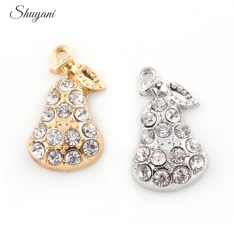 26*16mm New Fashion Crystal Floating Charm Fruit Pear Necklaces&Pendants DIY Jewelry Accessories
