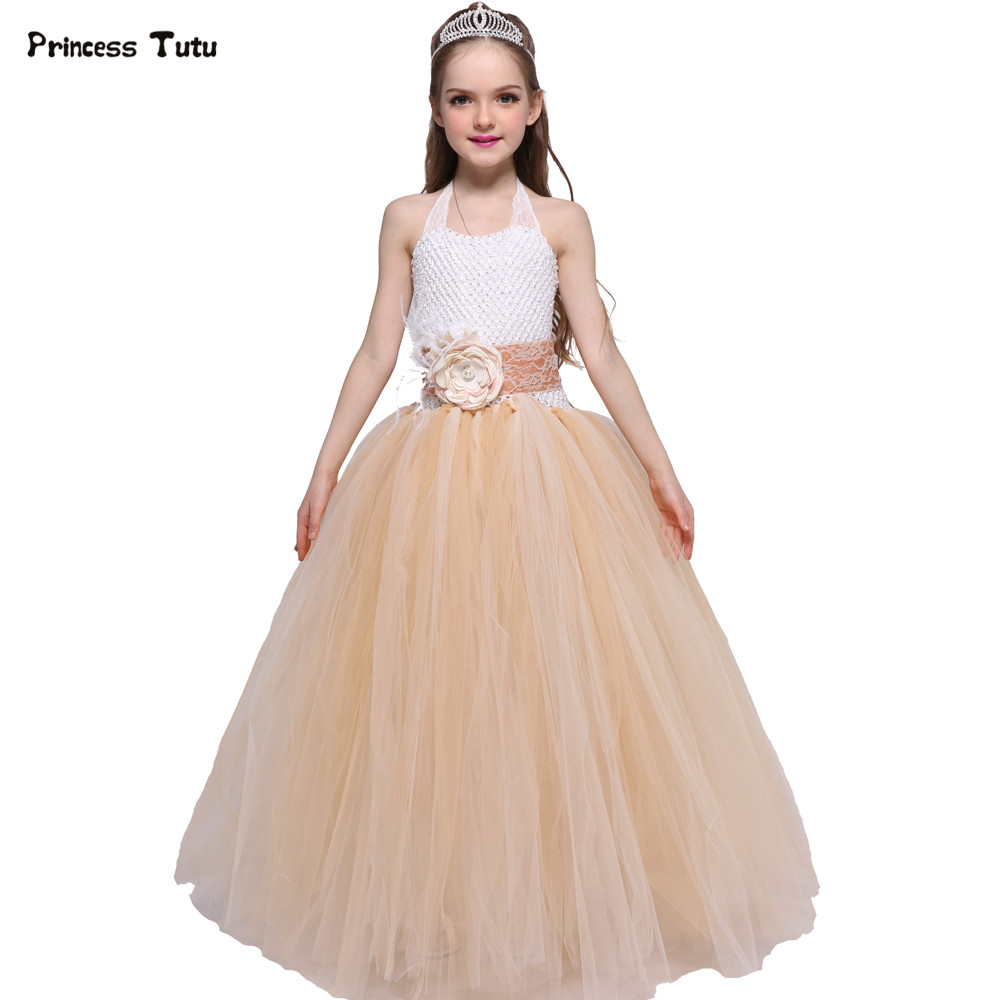Vintage Flower Girl Dresses Champagne Lace Tulle Tutu Dress Girls Kids Wedding Pageant Ball Gowns For Girls Princess Party Dress