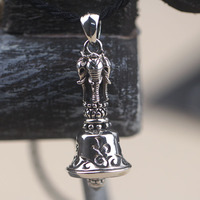 The Pure Silver Thai Silver Elephant Six Words To Ward Off Bad Luck Pendant With A Bell Buddhist Trunk Of God