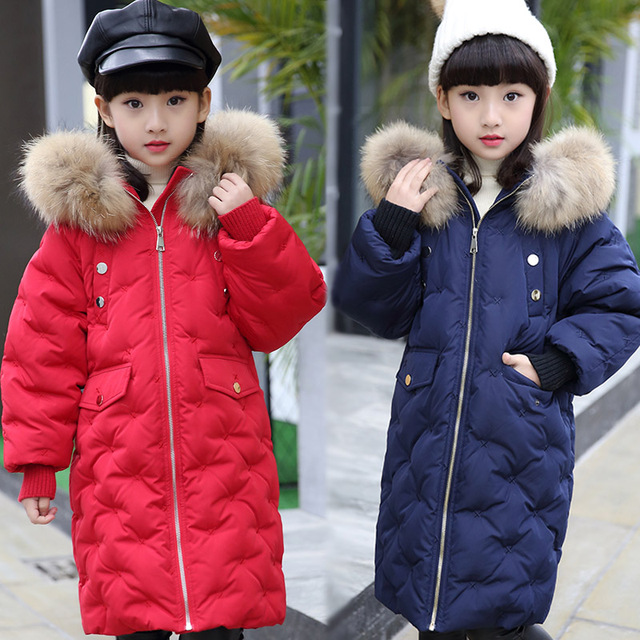 b53a76f10 30 Degrees Long Girls Thickened White Duck Down Jackets Kids Warm ...