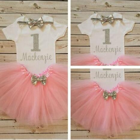 f553e3675 personalized number name girls infant bodysuit 1st birthday Silver ...