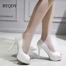 купить BYQDY Free Shipping New 2018 Spring Fashion Women Pumps Summer Slip On Shoes Peep Toe High Heels Black Ladies Shoes For Party по цене 1385.26 рублей
