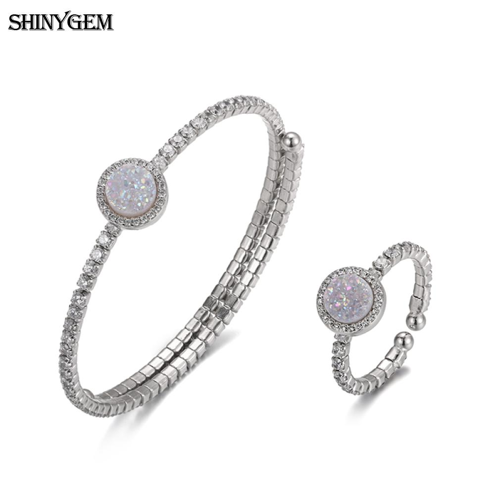 ShinyGem New 925 Sterling Silver Bangle Ring Jewelry Set Blue Opal Rainbow Druzy Crystal Gem Stone Bridal Jewelry Sets For Women in Jewelry Sets from Jewelry Accessories