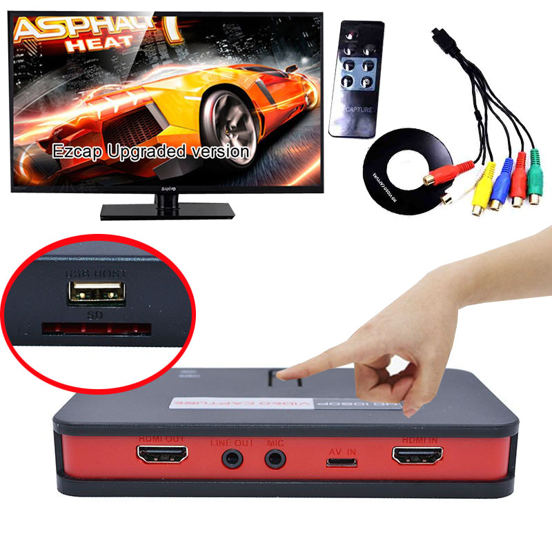 Online Live Stream HD Video Game Capture 1080P AV TV HDMI YPbpr CVBS Recorder Box With Remote Control can OBS Mic to USB Disk