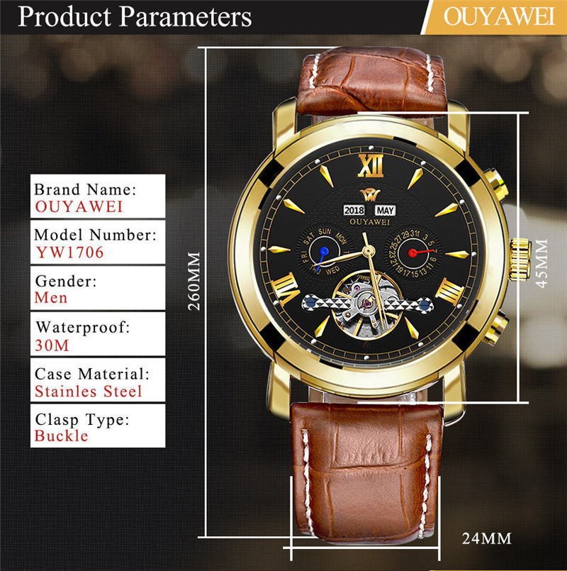 Mechanical Watch Mens Top Men\`s Automatic Mechanical Watches Wristwatch Leather watch relogio masculino (2)
