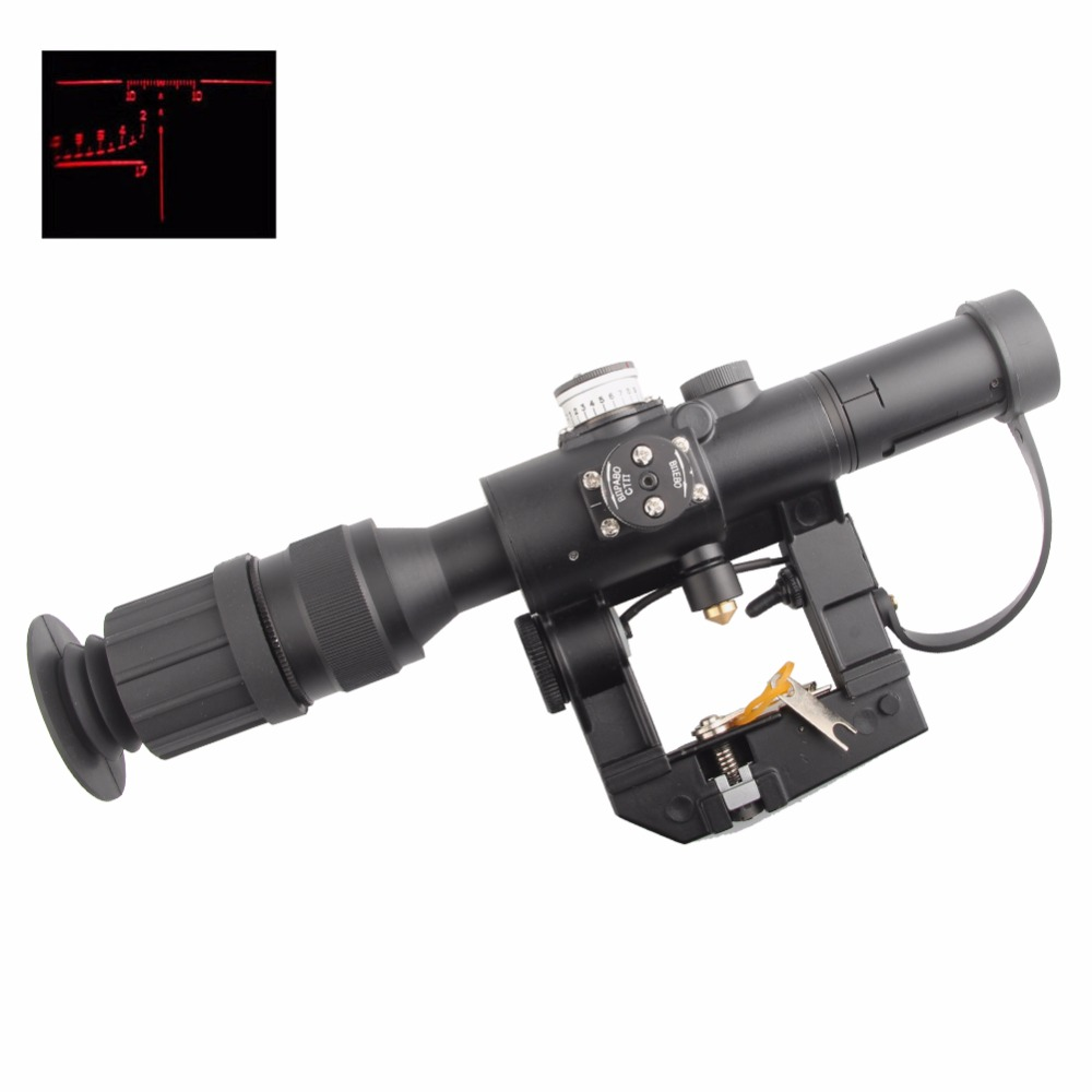 Tactical 4x26 Red Illuminated Rifle Scope Sight for SVD Dragunov Hunting Shooting HT6-0012