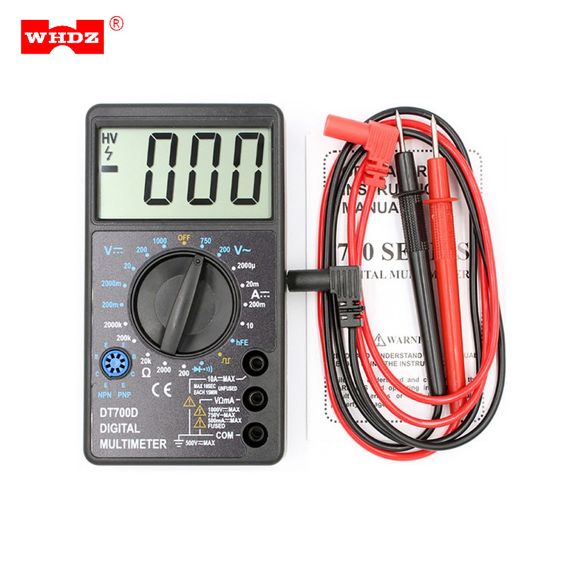 WHDZ DT700D Mini Digital Multimeter Buzzer Square Wave Output Ampere Voltage Ohm Meter Tester Probe Lead Ammeter Voltmeter an8206 overload protection mini digital multimeter lcd large screen display wave output ampere voltage ohm tester multimeter