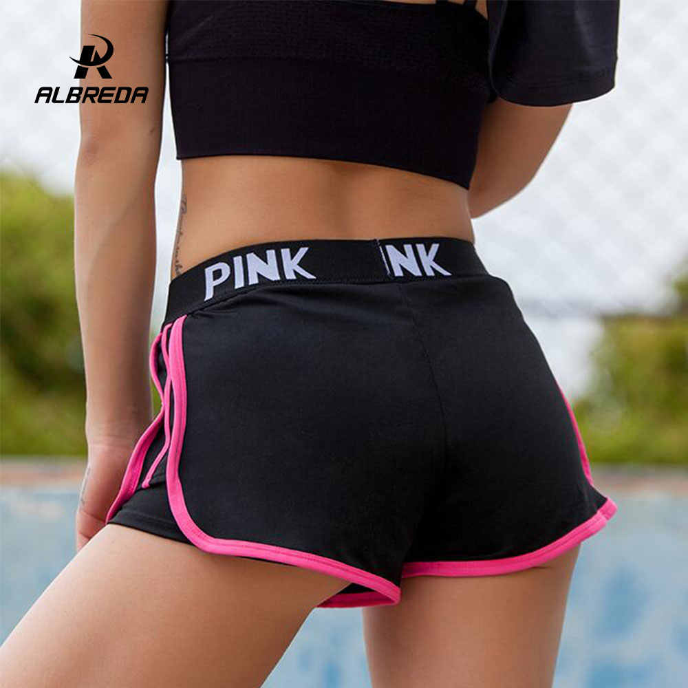 Albreda Brief Sport Runing Shorts Vrouwen Yoga Shorts Push Heupen Sexy Midden Waisted Gym Fitness Elastische Quick Dry Running Shorts