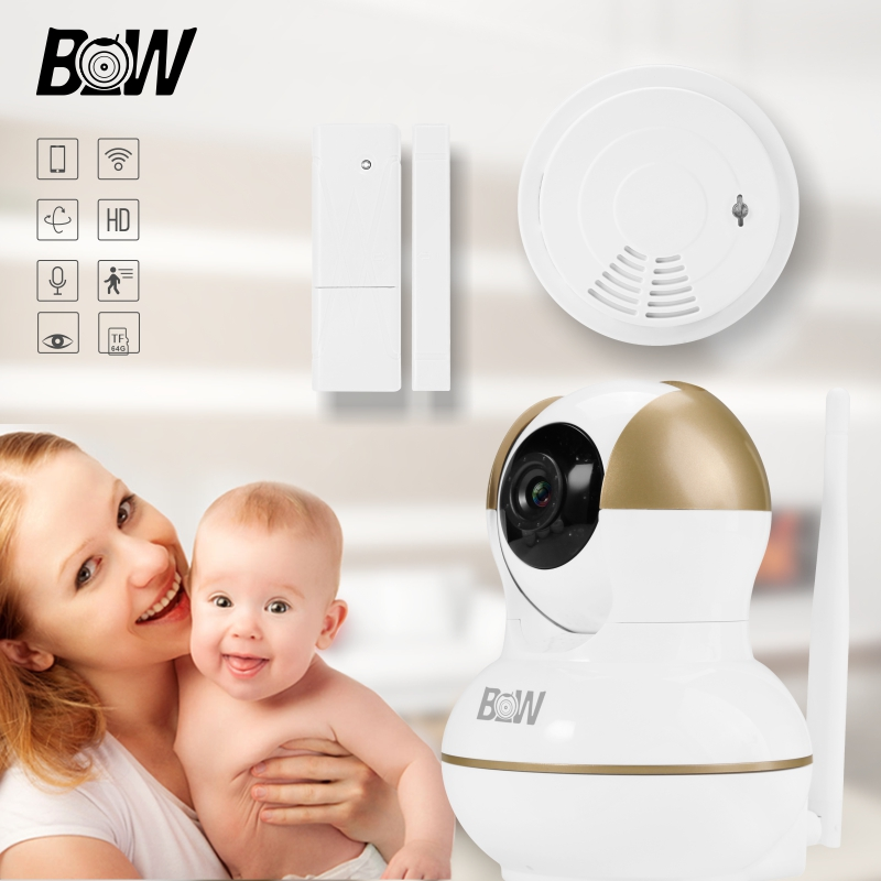 цена на Infrared Camera 720P WiFi HD Security Camera IOS Motion Detection Baby Monitor + Door Sensor/Smoke Detector Alarm System BW12G