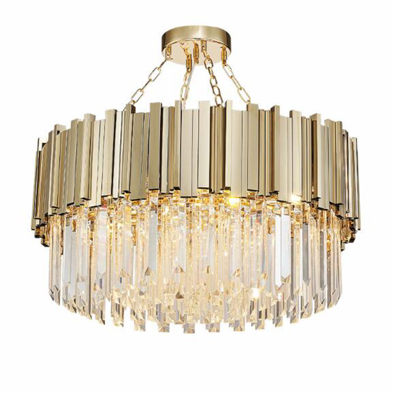 Modern Crystal Chandelier Lamp For Luxury Living Room Gold Chain Round Stainless Steel Chandeliers Lighting