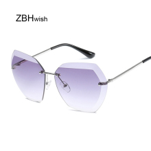 Pink Gradient Rimless Sunglasses For Women Oversized Eyewear