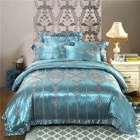 new bedding set Jacquard duvet cover set dark golden 4pcs/set bed linen luxurious bedclothes queen king size adult bed set Luxur