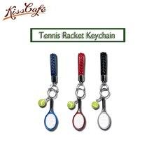 Hot SALE Mini Tennis Racket Keychain Key Ring Cute Sport Charm Ball Chain Car Bag Pendant Keyring Gift 6 Colors