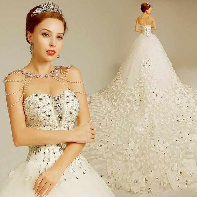 Handmade petals wedding dresses Diamante 2014 Autumn Royal train ...
