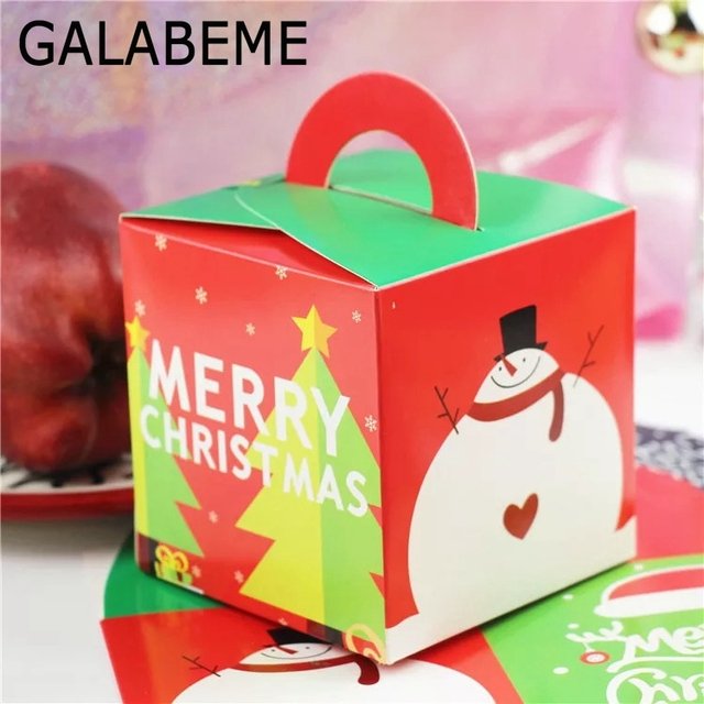 galabeme 50pcslot 9x9x9cm christmas candy box cookie cholocate cake xmas gift boxes christmas decoration - Christmas Candy Boxes