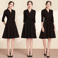 2009 Autumn and Winter New Spring Female A shaped V collar Medium long Formal Event Annual Meeting Dress