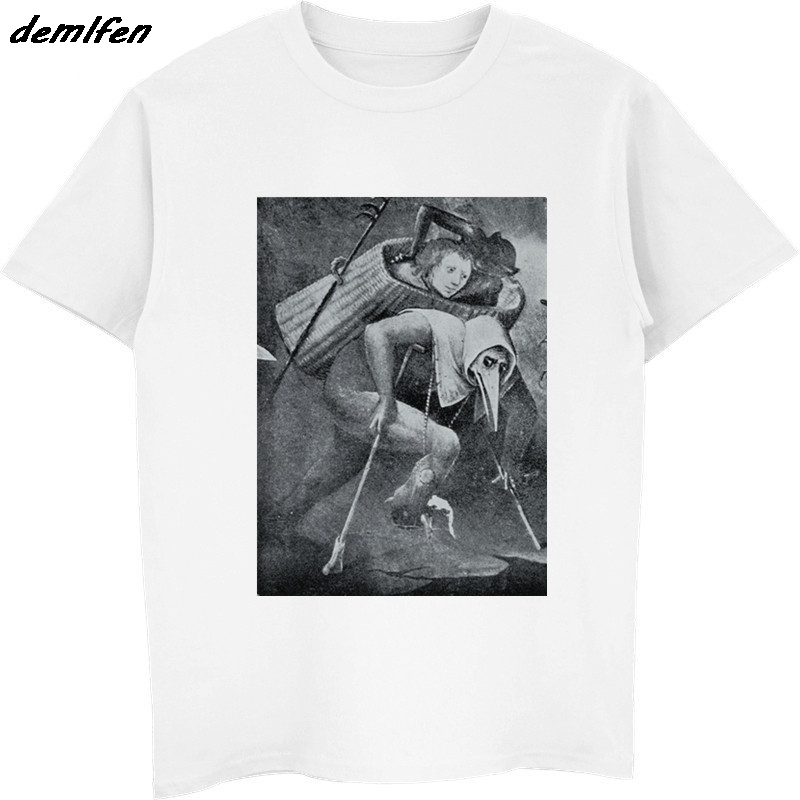 Loose Black Men T-shirt Homme Tees Hieronymus Bosch