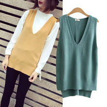the autumn of 2016 new women's Korean fashion all-match V ahead of long and short sleeveless sweater vest female split