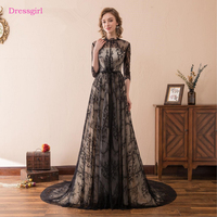 Black Evening Dresses 2018 A Line High Collar 3 4 Sleeves Lace Women Elegant Long Evening