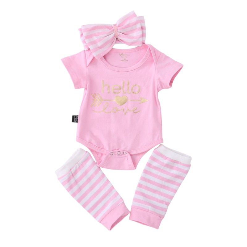 Casual Newborn Toddler Infant Baby Girl Romper Stripe Leg Warmers Headband 3pcs Outfits Set Casual Clothes 3pcs set newborn infant baby boy girl clothes 2017 summer short sleeve leopard floral romper bodysuit headband shoes outfits