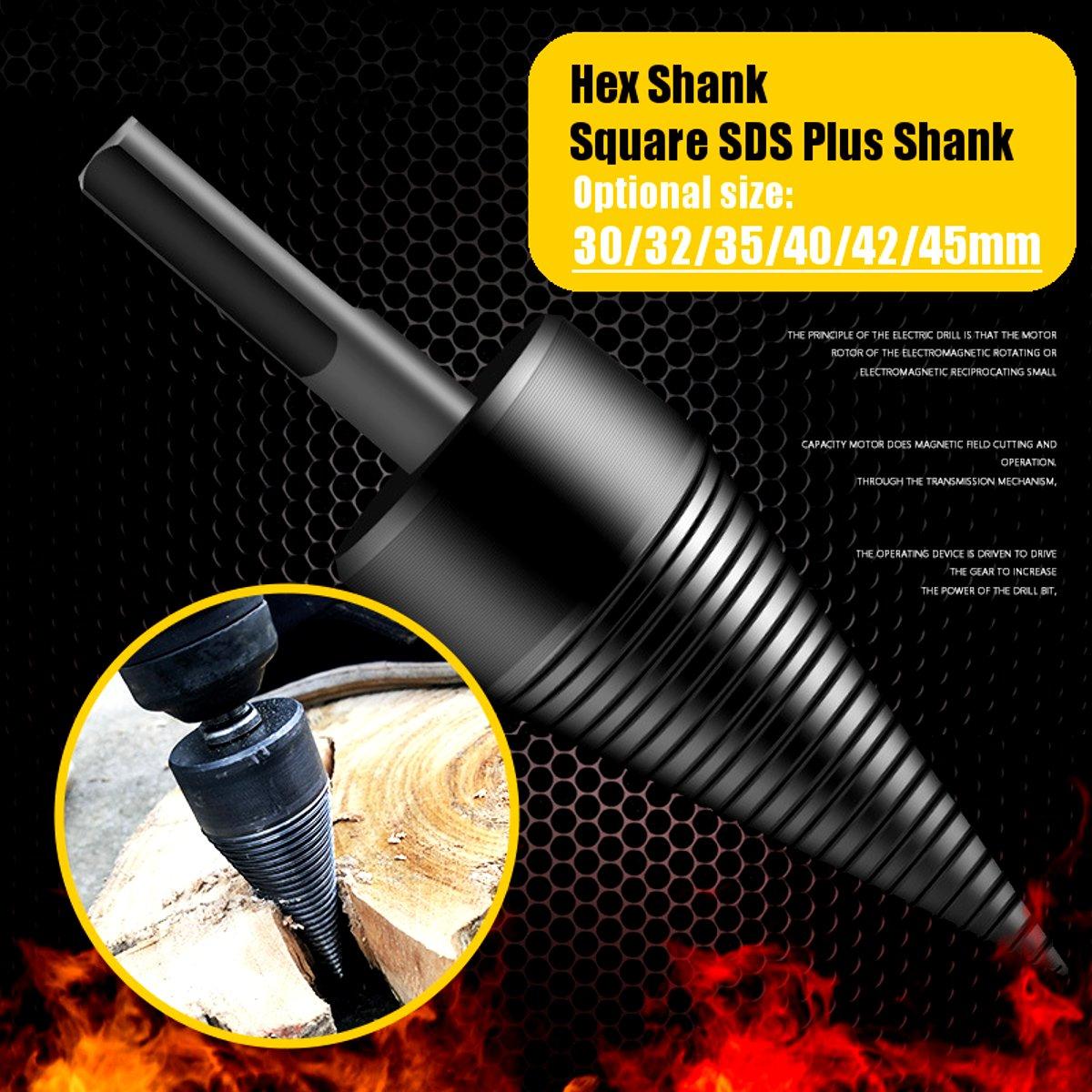 30/35/40/42/45/50mm Firewood Splitter Machine Drill Wood Cone Reamer Punch Driver Drill Bit Split Drilling Tools