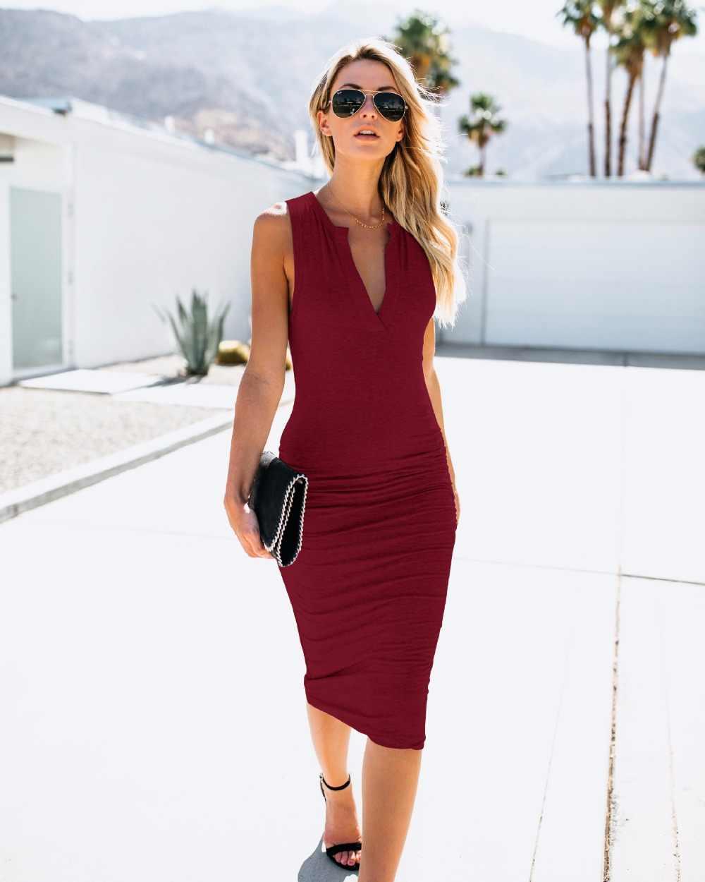 c1d33d0a14fed05 ... Новое Женское 2019 сексуальное летнее платье с v-образным вырезом без  рукавов платье-футляр ...