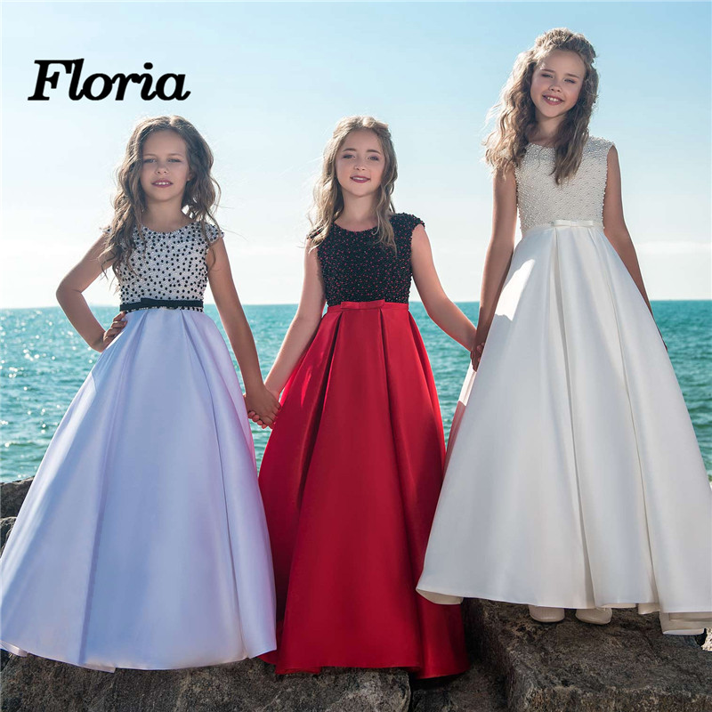 Fancy Pearls   Flower     Girl     Dresses   2018 Vestidos daminha A Line Kids Evening Pageant Gowns Beads First Communion   Dresses   For   Girls