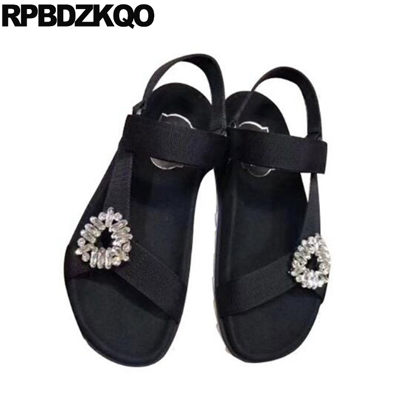 b112d4a5e8e670 Soft Rhinestone Crystal Flat Wide Fit Casual Shoes Black Green Strap Summer  Diamond Slingback Designer Sandals Women Luxury 2017