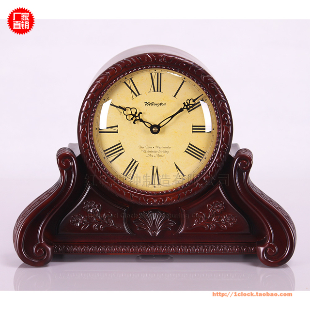 High-end European-style classic antique clock bedside table clock wooden  clock bell chime - High End European Style Classic Antique Clock Bedside Table Clock